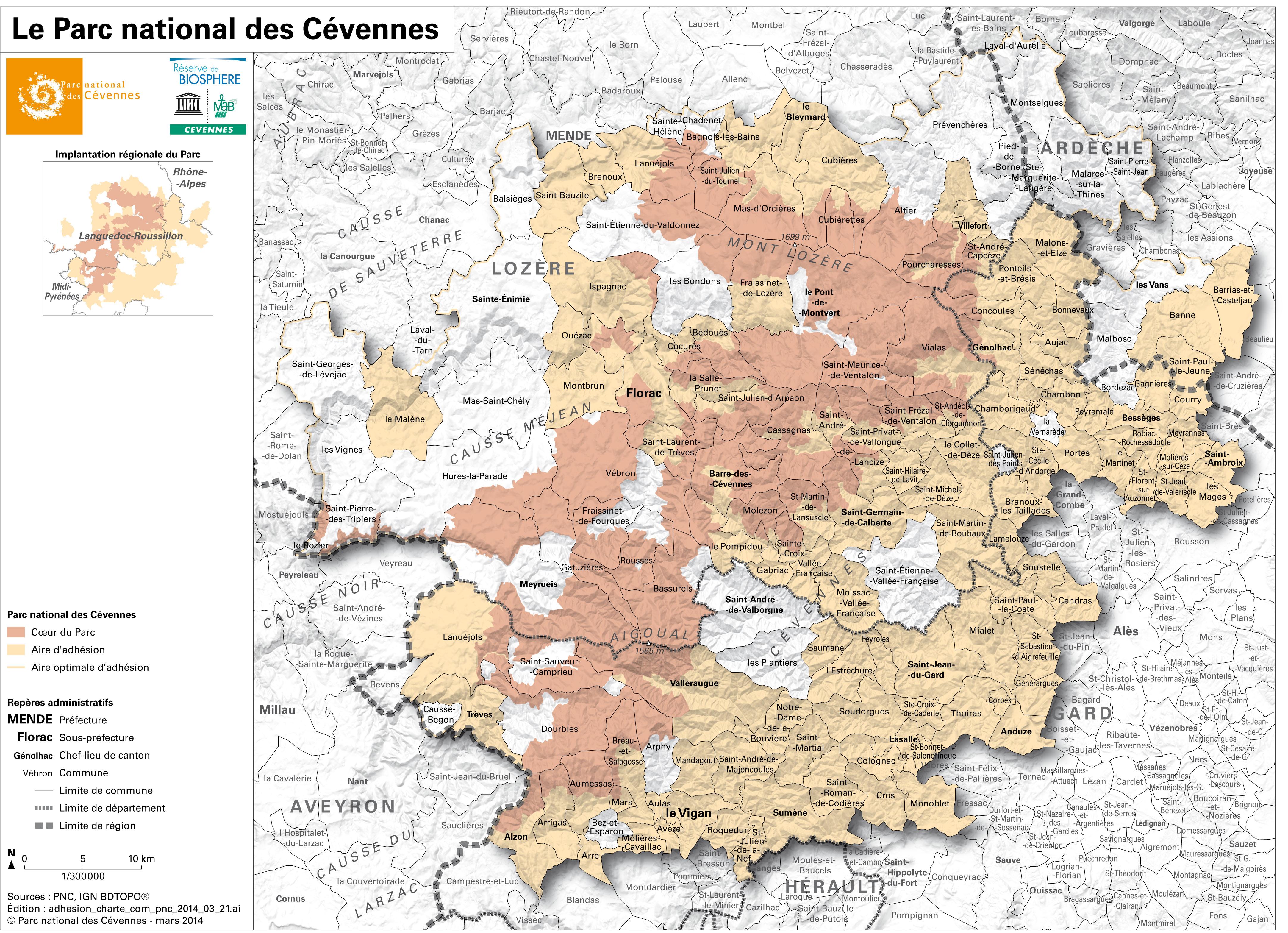 Carte Parc Des Cevennes | tonaartsenfotografie